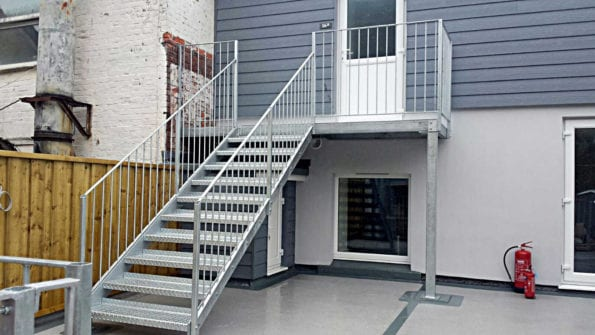 galvanised flat roof staircase