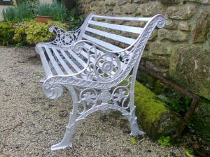 ornate metal bench