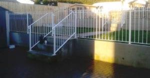 white galvanised railings