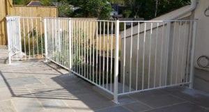 white powder coated railings